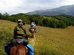 Конный поход на плато Укок : На спуске