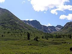 Конный поход на плато Укок : На горе видны полузаросшие колеи к руднику