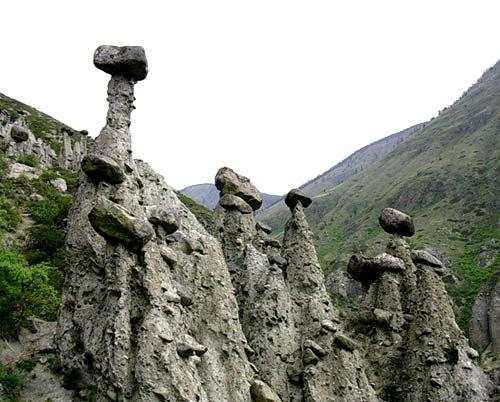 Каменные грибы в ущелье Карасу